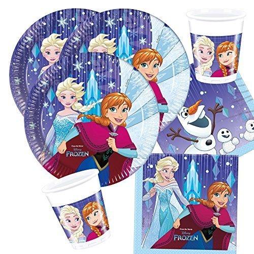 36-teiliges Party-Set Frozen die Eiskönigin - Snowflakes - Teller Becher Servietten mit Anna Elsa und Olaf für 8 Kinder Neues Design 2017