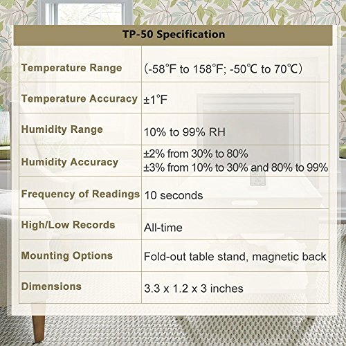 12 89 thermopro tp50 digitales thermohygrometer raumklimakontrolle raumlufterwachtung. Black Bedroom Furniture Sets. Home Design Ideas