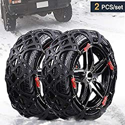 Rupse Car Winter Snow Chains for Car, Set of 2 SUV Truck Emergency Anti-slip Chain Free of Jack with 195mm-255mm Tire Width (Extra Wide)