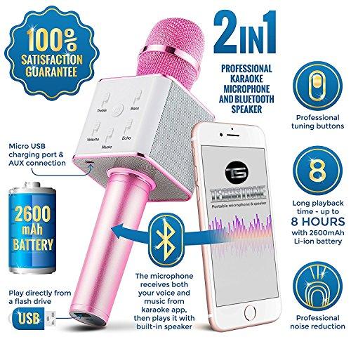 Upgraded Wireless Karaoke Microphone Bluetooth Speaker