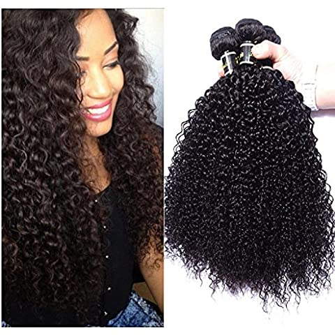 Meydlee AccessoriPosticci Kinky ricci 100% umano capelli estensioni/trama 100g/pc, 300g colore totalmente naturale può essere tingibili , 20 22 24