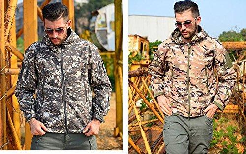CRAVOG Herren mantel Shark Haut Softshell Jacke Männer Reine farbe wasserdichten hochwertigen Crocodile mode slim fit kapuzenjacke ACU