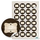 48 Stück runde Haushaltsetiketten blanko Aufkleber Etiketten - Beschriften 4 cm rechteckig beige braun natur vintage nostalgie selbstklebende Sticker Gewürze Gläser Gewürzetiketten leer beschreibbar