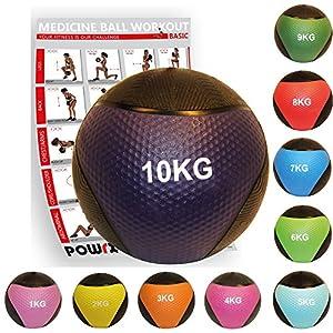 POWRX Medizinball inkl. Workout I Gewichtsball 1-10 kg versch. Farben I Medizin Fitnessball rutschsicher Studioqualität
