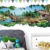Grandora Wandtattoo aufgerissene Wand Dinosaurier I (BxH) 90 x 46 cm I T Rex Kinderzimmer Jungs selbstklebend Aufkleber Wandaufkleber Wandsticker Sticker Junge W5305