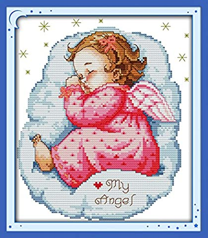 YEESAM ART® New Cross Stitch Kits Advanced - Sleeping Angel Baby Girl 14 Count 22×28 cm White Canvas - Needlework Christmas