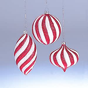 Peppermint Twist Red and White Glitter Striped Ball Christmas Ornament: Amazon.co.uk: Kitchen & Home