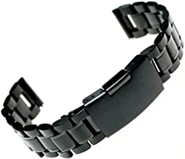 Stainless Steel Watch Band Strap Straight End Solid Links Bracelet Watch Strap 24mm (Black)