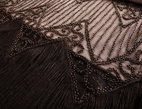 PrettyGuide Damen 1920er Charleston Kleid Pailetten Cocktail Flapper Kleid Mit Ärmel Braun Beige