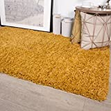 The Rug House Tapis de Salon Ontario Shaggy Jaune, Ocre, touché agréable, Nettoyage Facile 110cm x 160cm (3'7' x 5'3')