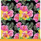 Soimoi Schwarz Viskose Chiffon Stoff Hibiskus Blumen- Stoff