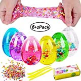 Swallowzy 6 Pack Soft Egg Slime Colorful Fluffy Slime with Pearl Scented Stress Relief Toy Sludge Toys with Slime Tools and Fruit Slice