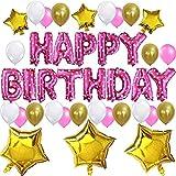 KUNGYO Set di Decorazione di Festa di Compleanno Sveglia- Bandiera Rosa di Palloncino di Happy Birthday Festa di Compleanno per Ragazza Bambini