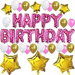 Idea Regalo - KUNGYO Set di Decorazione di Festa di Compleanno Sveglia- Bandiera Rosa di Palloncino di Happy Birthday Festa di Compleanno per Ragazza Bambini