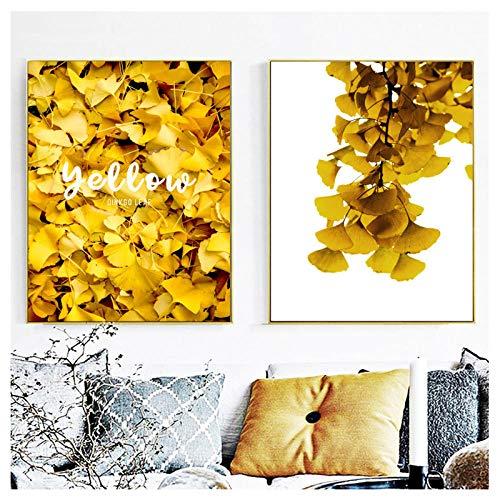 dayanzai Goldene Ginkgo Blätter Linie Drew Wandkunst Leinwand Malerei Abstrakte Nordic Poster Und Drucke Wandbilder Für Wohnzimmer 50X70 cm X 2 Stücke Kein Rahmen