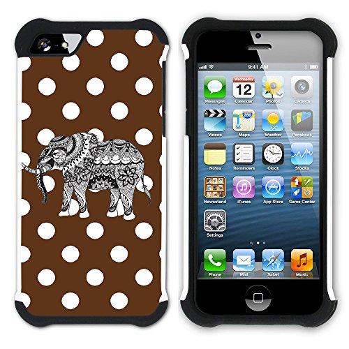 Graphic4You Stammes- Elefant Punktmuster Tupfen Muster (Wasserblau) Hart + Weiche Kratzfeste Hülle Case Schale Tasche Schutzhülle für Apple iPhone SE / 5 / 5S Braun