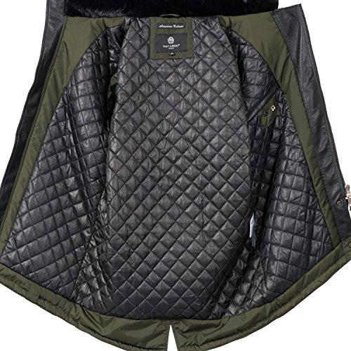 Navahoo Herren Übergangsjacke Mantel Parka mit Kunstleder-Ärmeln Shinook (vegan hergestellt) 5 Farben S-3XL Grün