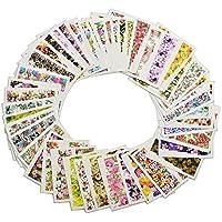 GGG 50 hojas coloridas floral Nail Art pegatinas Decalques de uñas manicura agua de transferencia