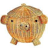 ZDD Aufbewahrungskiste Kreativer Rattan-großer Aufbewahrungsbehälter, kosmetischer Aufbewahrungsbehälter des Schreibwarenpapiers (Farbe : Schokoladen-Farben, größe : 26x31cm)