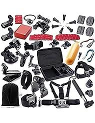 Theoutlettablet® Super pack 44 en 1 accesorios para Vídeo Cámara Accesorio para GoPro Hero 4 3+ 3 2 1, - Vtin Eypro 1 Kit de Accesorios para SJ4000 SJ5000 SJ6000, accesorios de la cámara de acción para Xiaomi Yi en Paracaidismo Natación Remo Surf Esquí Escalada Correr Montar en bicicleta acampar - buceo