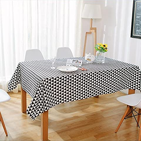 SUUNHH-Coffee table cloth triangles cotton fabric desk tablecloth oblong table cloth modern minimalist art,Black,Hold pillow case 60*60