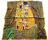 Avenella grosses Hochwertiges Künstlerisches SEIDENTUCH Kunstdruck Seidenbild in leuchtenden Farben DER KUSS von GUSTAV KLIMT Jugendstil Halstuch ca. 107x107cm, HANDROLLIERT, 100% Seide Digitaldruck
