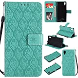 BestCatgift Xperia XA1 Wallet Case, [Rattan Flower] Xperia