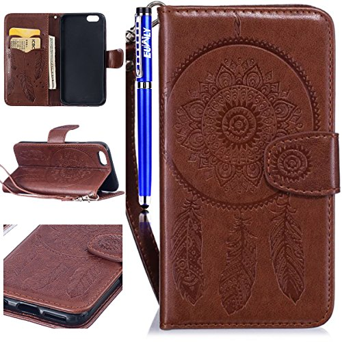 FESELE Coque iPhone 6 Plus / 6S Plus,Campanule Embossé Housse iPhone 6 Plus / 6S Plus,iPhone 6 Plus / 6S Plus Coque à Rabat Magnétique Housse Etui de Protection Ultra Slim Mince Anti Choc Pure Leather Marron