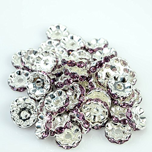 rubyca 100Premium Qualität Tschechische Kristall Strass rund und gewellt Silber Ton Rondelle Spacer - Art Clay Copper Clay