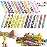 JOYIN 72 PCs Slap Band Slap Bracelets Party Bag Fillers for Kids (24 Designs) with Colorful Hearts Animal Emoji Valentine's Prints Party Favours Pack
