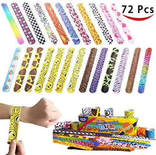 JOYIN 72 Stück (24 Designs) Schnapparmbänder, Kinder Schnapparmband Slap Armbänder Klatscharmband mit bunten Herzen Tier Emoji für Kindergeburtstag, Mitgebsel, Party (Goodie Bags Kindergeburtstag Für Den)