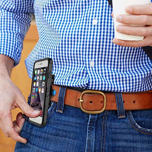 iPhone Case,Telefono Impermeabile Guscio Protettivo Resistente Dustproof Impronte Toccare Iphone7 Plus 5.5inch (nero) belt clip