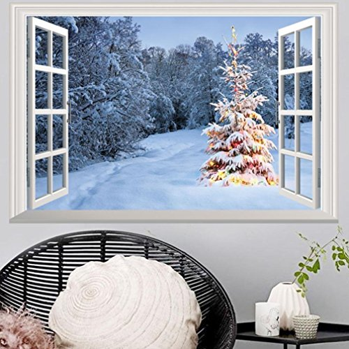 2018Merry Christmas, 3D, Fenster Aufkleber, Weihnachten, Happy New Year, Zuhause, Geschäft, Büro, Wand, Dekor, PVC, Style L, 50cm * 70cm -