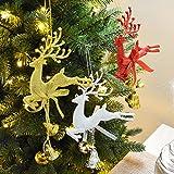 wicemoon 20cm Weihnachten Bell Elch Anhänger verziert Baum Weihnachtsschmuck, plastik, silber, 20 cm
