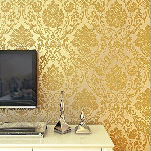 mastart 3D geprägt geprägt Vlies Dekoration Wohnzimmer Restaurant TV Wand Schlafzimmer Tapete -53 cm (W) * 1000 cm (L) , golden ()
