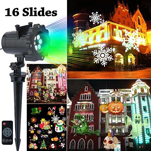 【Neue Version】Lovebay LED 16 alternative Motiven Weihnachts Projektor, Figuren Weihnachtsbeleuchtung, Außenbeleuchtung Weihnachten für Garten Gurburtstag Hochzeit Ostern, Wasserdicht IP44