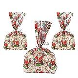 12 x Beutel Tüten Weihnachten Zellophan Kekstüten Kekse Geschenk Adventskalender Zellophanbeutel Zellophantüten Naschtüten Geschenktüte Weihnachtsmann Party Cellophane