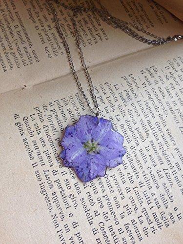 Collana girocollo, ciondolo fiori veri viola resina vetrificata, catenella acciaio, brillante, charms - Resina Charm