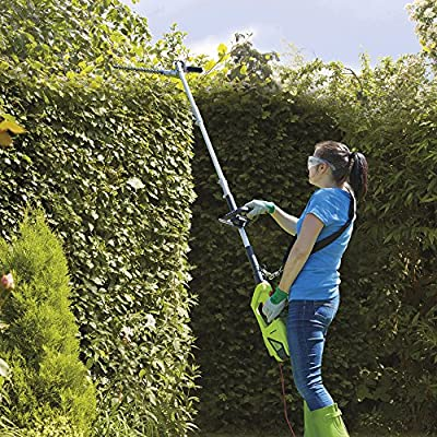 Garden Gear Electric Telescopic Extendable Hedge Trimmer with 2.5m Reach, Shoulder Strap & Blade Cover