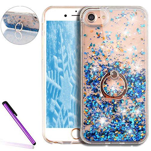 iPhone 7 Plus Clear Coque,iPhone 7 Plus Case Anti chock Dual Layer Plastic Liquide Coque Bling Flash Etui Case Cover pour iPhone 7 Plus 5.5 Pouce,iPhone 7 Plus Transparente Coque,iPhone 7 Plus Bling D A Diamond Liquid 1