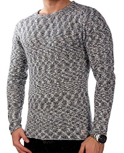 JACK & JONES jjorMEL Herren Knit Strickpullover Sweatshirt Muster Slim Fit Weiß (Herstellerfarbe: Navy Blazer)