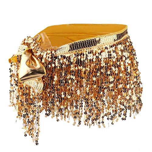 Baoblaze Glänzende Pailletten Bauchtanz Zubehör Taille Bund Quasten Belly Dance Taille Kette - Gold, wie beschrieben