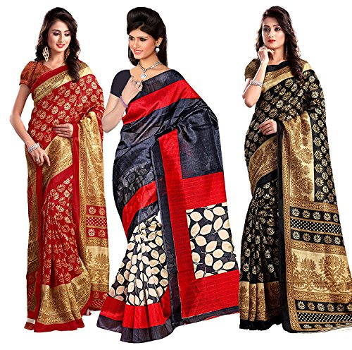 Italian King Combo Pack Of 3 Beautiful Art Silk Sarees