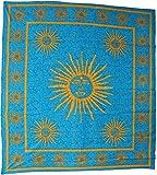 Tagesdecke Sonne Bettüberwurf Überwurf Wandbehang Wandtuch Baumwolltuch Goa Tuch Indien 210x230 cm Baumwolle mehrfarbig Blau Hellblau Gelb Nr. 200
