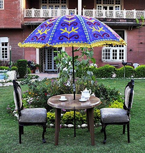 uml03799 Funda hecha a mano sombrilla paraguas grande para jardín o patio paraguas Color Azul 133 x 183 cm