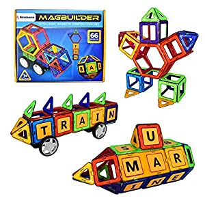 [Bonus Idea Book] Simbans MagBuilder 66 Pieces Magnetic Building Block Set – STEM learning - with Alphabets for 3 , 4 and 5+ Year Old Boys & Girls; Creative Colorful Educational Construction Engineering Fun Kit Best Toy Gift for Kids Ages 3yr – 6yr