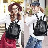 ZUNIYAMAMA Beiläufig Geldbörse Mode Schule Leder Rucksack Damen Schultertasche Mini Rucksack für Frauen & Mädchen im Teenageralter Schwarz