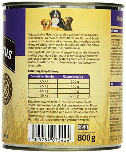 Christopherus Alleinfutter für Hunde, Nassfutter, Gluten- und getreidefrei, Fasan/ Amaranth/ Pastinake, Exklusives Fleischmenü 800 g - 3
