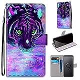 Miagon Flip PU Leder Schutzhülle für Samsung Galaxy S9,Bunt Muster Hülle Brieftasche Case Cover Ständer mit Kartenfächer Trageschlaufe,Trinken Tiger