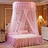 AOKDOOR Bett Moskitonetz Lace Bett Net Moskito Solid Dome Moskitonetz Preise für Schlafzimmer Sommer Vorhang Bettwäsche Decor (Rosa)
